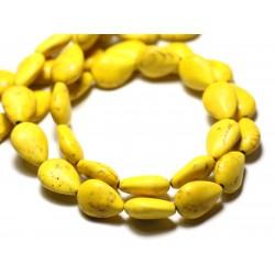 10pc - Perles Turquoise Synthèse reconstituée Gouttes 14x10mm Jaune - 8741140009516
