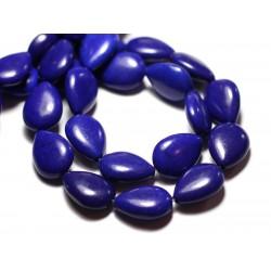 10pc - Perles Turquoise Synthèse reconstituée Gouttes 18x14mm Bleu nuit - 8741140009561