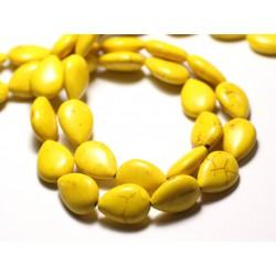 10pc - Perles Turquoise Synthèse reconstituée Gouttes 18x14mm Jaune - 8741140009578