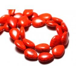 10pc - Perles Turquoise Synthèse reconstituée Gouttes 18x14mm Orange - 8741140009585
