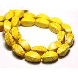 10pc - Perles Turquoise Synthèse reconstituée Olives Torsadées Twist 18mm Jaune - 8741140009776