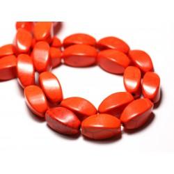 10pc - Perles Turquoise Synthèse reconstituée Olives Torsadées Twist 18mm Orange - 8741140009783