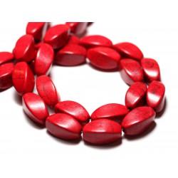 10pc - Perles Turquoise Synthèse reconstituée Olives Torsadées Twist 18mm Rouge - 8741140009790