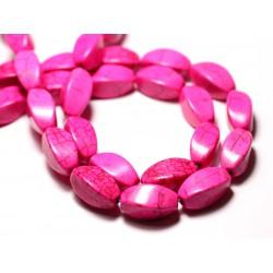 10pc - Perles Turquoise Synthèse reconstituée Olives Torsadées Twist 18mm Rose - 8741140009806