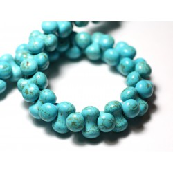 20pc - Perles Turquoise Synthèse reconstituée Os 14x8mm Bleu Turquoise - 8741140009851