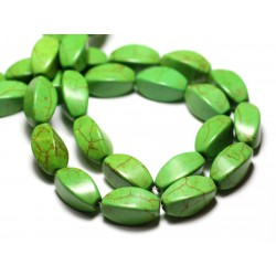 10pc - Perles Turquoise Synthèse reconstituée Olives Torsadées Twist 18mm Vert - 8741140009813