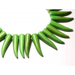 4pc - Perles Turquoise Synthèse reconstituée Piment Corne Dent 40mm Vert - 8741140010017