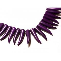4pc - Perles Turquoise Synthèse reconstituée Piment Corne Dent 40mm Violet - 8741140010024