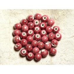 10pc - Perles Porcelaine Céramique Boules 8mm Rose Corail Framboise - 4558550009456