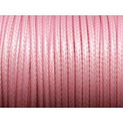 3 mètres - Cordon Coton Ciré 3mm Rose clair - 4558550004802