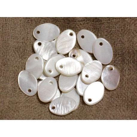 10pc - Perles Breloques Pendentifs Nacre Blanche Ovales 14x10mm 4558550021090