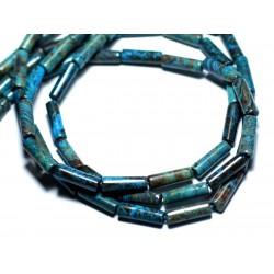 4pc - Perles de Pierre - Jaspe Paysage Automne Bleu Turquoise Tubes 13x4mm - 8741140007741
