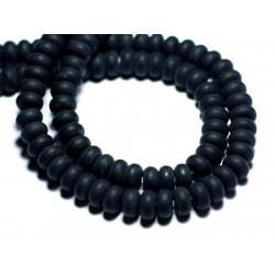 10pc - Perles de Pierre - Onyx Noir Mat givré Rondelles 8x5mm - 8741140007888