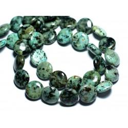 2pc - Perles de Pierre - Turquoise Afrique naturelle Palets 14mm - 8741140008014