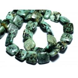 2pc - Perles de Pierre - Turquoise Afrique naturelle Carrés 14mm - 8741140008021