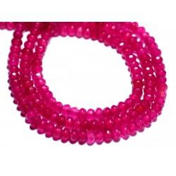 30pc - Perles de Pierre - Jade Rondelles Facettées 4x2mm Rose Fluo Fuchsia - 8741140008144