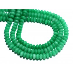 30pc - Perles de Pierre - Jade Rondelles 5x3mm Vert Empire Mat Givré - 8741140008182