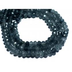 20pc - Perles de Pierre - Jade Rondelles Facettées 6x4mm Gris Anthracite Noir - 8741140008168