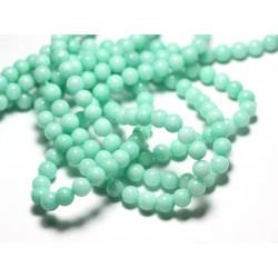 20pc - Perles de Pierre - Jade Boules 6mm Vert clair Turquoise Pastel - 4558550025289