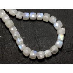 1pc - Perle de Pierre - Pierre de Lune blanche arc en ciel Cube Facetté 6-7mm - 8741140008847