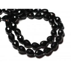 1pc - Perle de Pierre - Spinelle noire Goutte Facettée 7-9mm - 8741140008816