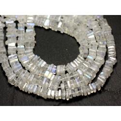 10pc - Perles de Pierre - Pierre de Lune blanche arc en ciel Carrés Heishi 3-4mm - 8741140008939