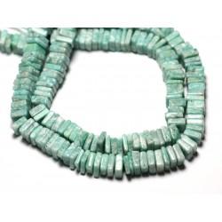 10pc - Perles de Pierre - Amazonite Carrés Heishi 3-4mm - 8741140008861