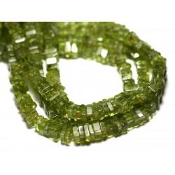 10pc - Perles de Pierre - Péridot Carrés Heishi 3-4mm - 8741140008922