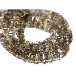 10pc - Perles de Pierre - Quartz Fumé Carrés Heishi 3-4mm - 8741140008946