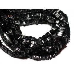 10pc - Perles de Pierre - Spinelle noire Carrés Heishi 3-4mm - 8741140008953