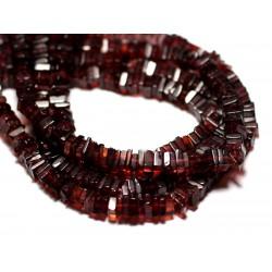 10pc - Perles de Pierre - Grenat Carrés Heishi 3-4mm - 8741140008908