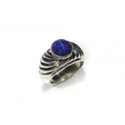 Bague argent 925 lapis lazuli rond facetté 8 mm