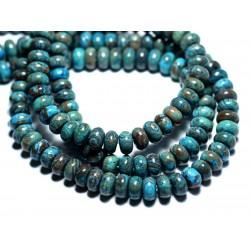 10pc - Perles de Pierre - Jaspe Paysage Automne Bleu Turquoise Rondelles 8x5mm - 8741140007758