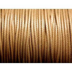 5 mètres - Cordon coton ciré enduit Rond 2mm Beige - 4558550088338