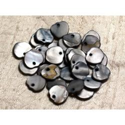 10pc - Perles Breloques Pendentifs Nacre Pommes 12mm Gris Noir 4558550006295