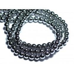 10pc - Perles de Pierre - Hématite argentée Rhodium Boules 6mm - 4558550023735