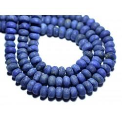 10pc - Perles de Pierre - Lapis Lazuli Mat Givré Rondelles 8x5mm - 8741140007840