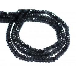 30pc - Perles de Pierre - Jade Rondelles Facettées 4x2mm Gris Anthracite Noir - 8741140008083