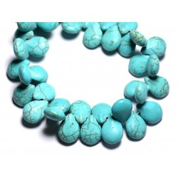 20pc - Perles Turquoise synthèse Gouttes 16mm Bleu Turquoise - 4558550031969