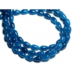 10pc - Perles de Pierre - Jade Gouttes 9x6mm Bleu Vert Paon Canard - 8741140008052