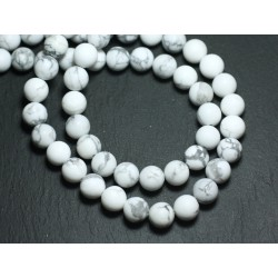 20pc - Perles de Pierre - Howlite Mat Givré Boules 6mm - 8741140008489