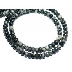 20pc - Perles de Pierre - Jaspe Zèbre Rondelles 6x4mm - 8741140008557
