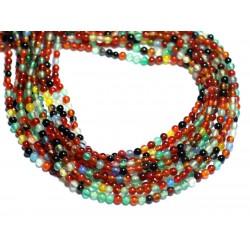 50pc - Perles de Pierre - Agate Boules 2mm Multicolore - 8741140007529