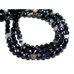 20pc - Perles de Pierre - Agate Boules Facettées 4mm noir et blanc - 8741140007543