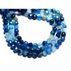 20pc - Perles de Pierre - Agate Boules Facettées 4mm blanc bleu turquoise - 8741140007550