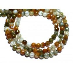 20pc - Perles de Pierre - Agate Boules Facettées 4mm blanc orange vert kaki - 8741140007567