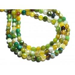 20pc - Perles de Pierre - Agate Boules Facettées 4mm jaune et vert - 8741140007581