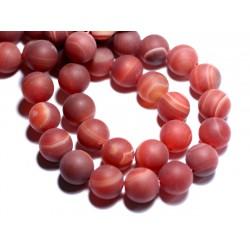 4pc - Perles de Pierre - Agate Rouge Mat givré Boules 12mm - 8741140007611