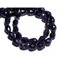 2pc - Perles de Pierre - Améthyste Gouttes Facettées 10x7mm - 8741140007635