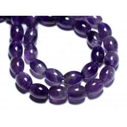 2pc - Perles de Pierre - Améthyste Olives 10x8mm - 8741140007659